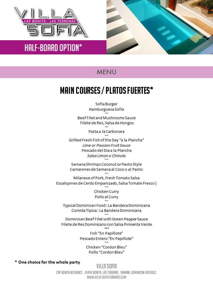 Villa Sofia – Meals Services – Main Courses Menu