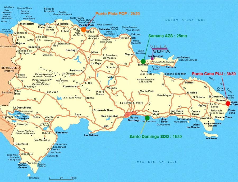 Las Terrenas Attraction Map – Location